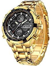 Orologi da uomo di moda di lusso in acciaio inossidabile cronografo sportivo pesante Data impermeabile multifunzione analogico digitale orologio
