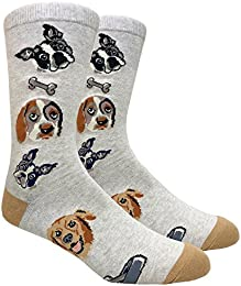 Men's Hipster Dog Lover Animal Novelty Crew Dress Socks