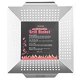 Soledi Grill Basket Grilling Accessories Professional Grade 430 Stainless Steel Wok, Meat Grilling Basket, BBQ, Barbecue, Veggie, Fish, Quesadilla, Shrimp, Corn, Kabob
