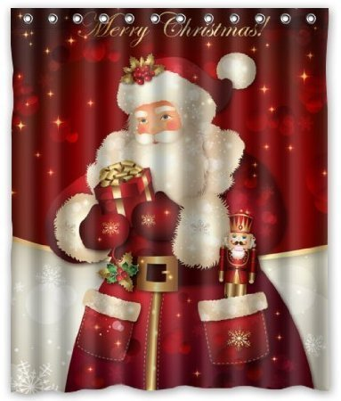 Discount Custom Merry christmas Dreamlike the Santa Claus Waterproof Polyester fabric Shower Curtain 60X72 (Abc Christmas Fabric)