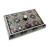 Mother of Pearl Inlay Geometric Pattern Korean Alphabet Desktop Wooden Lid Business Name Card Holder Case