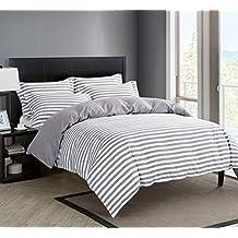DelbouTree 3pcs Reversible Bedding Set,Lightweight Microfiber Duvet Cover Set,Queen size Grey Stripe