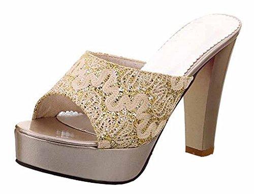Chfso Kvinna Trendig Peep Toe Plattform Paljetter Gasväv Glid Tofflor Sandaler Hög Chunky Klack Guld