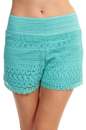 ToBeInStyle Women's Cross-Over Lace Shorts - Mint - for sale  Delivered anywhere in USA