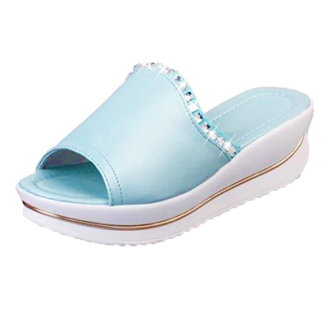 Inkach Womens Platform Wedges Sandals - Fashion Summer Sandals Chunky Heel Beach Slippers Shoes (35(US:4.5), Light Blue)