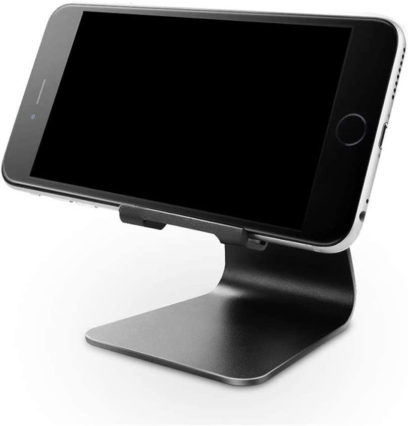 AQESO Phone Holder Cradle Dock Aluminum Desktop Cellphone Tablet Stand Compatible with iPhone Xs Max Xr 8 7 6 Plus Charging Accessories Desk for All Smartphone Adjustable Cell Phone Stand Black