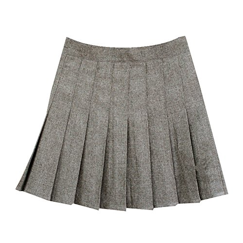 Women School Uniforms plaid Pleated Mini Skirt Hua Gray a 2