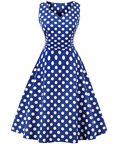 VERNASSA 1950s Vestidos para Mujer, 50s Vestido Retro con Estilo del Oscilación de la Tarde de la Vendimia del Baile de Fin de Curso del Club del Coctel del Algodón del Estilo de Hepburn 1620-puntos Azules