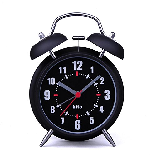 hito 4 Black Silent Alarm Clock Battery Operated Night Light Extra Loud Alarm for Heavy Sleepers Kids