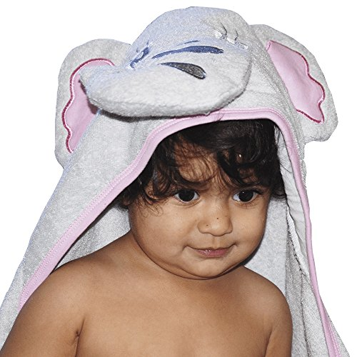 Hooded Baby Towel, Bath Towel with an Elephant Hood Design, 100% Natural Cotton - Soft - Super Absorbent- Durable and Spongy Fabric, Large Size – In Pink and Grey