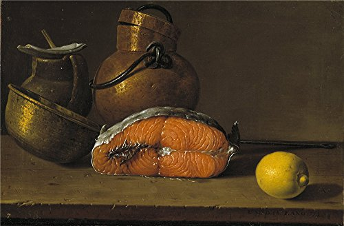 Oil Painting 'Melendez Luis Egidio Piece Of Salmon A Lemon And Three Vessels 1772' 8 x 12 inch / 20 x 31 cm , on High Definition HD canvas prints, gifts for Dining Room, Nursery And Study Room (Amish Dining Room China Cabinet)
