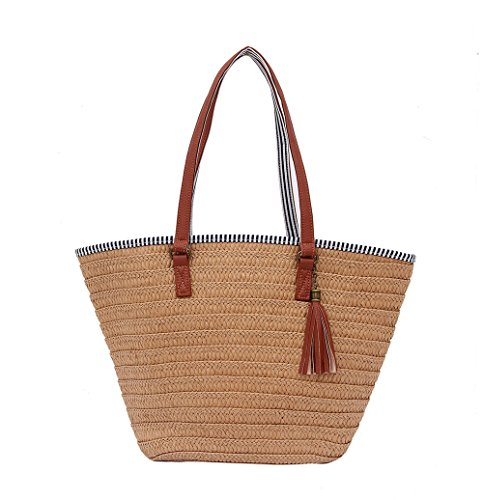 Soonyean Summer Straw Beach Bag Handbags Shoulder Bag Tote,cotton lining,Top Leather Handle-Eco Friendly (Brown)