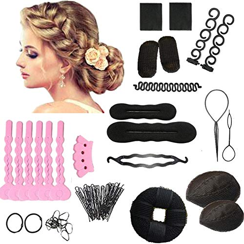 Roche.Z Hair Braiding Tool S and Fishbone DIY Hair Styling Tool Kit Ponytail Maker Accessories Hair Fashion Hair Design Styling Accessory Maker Pads Hairpins Magic Hair Twist Styling Set