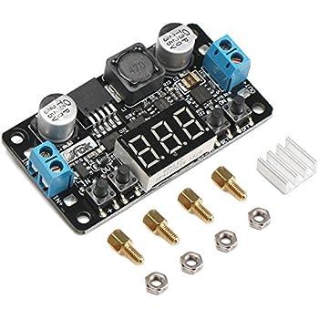 24V to 12V 5V DC Converter, DROK LM2596 Buck Power Converter 5-32V to 0-30V Step Down Adjustable Output Voltage Regulator Board Power Supply Module with LED Display Voltmeter Screw & Heatsink