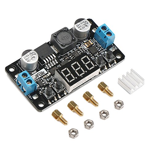 (24V to 12V 5V DC Converter, DROK LM2596 Buck Power Converter 5-32V to 0-30V Step Down Adjustable Output Voltage Regulator Board Power Supply Module with LED Display Voltmeter Screw & Heatsink)