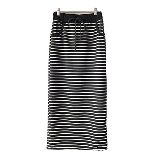 Nanxson(TM) Women's Fashion Casual Sports Stripe Maxi Skirt Q0019 - Stretch Womens Skirt Wool Long