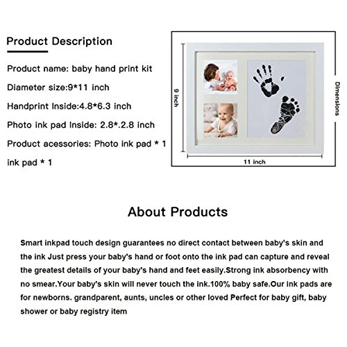 Baby Handprint and Footprint Photo Frame Kit by TopSuccess Without Ink-Touch,Safe and Non-Toxic Ink Print Kit for Baby Babyprints Inkpad Best for Newborn Baby Gifts GM10 (Black) by TopSuccess (Image #2)