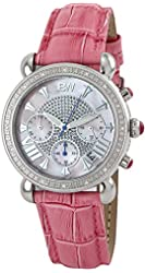 """JBW Women's JB-6210L-E """"Victory"""" Pink Pearl Stainless Steel Pink Leather Diamond Watch"""