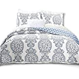 DriftAway3 Piece Samantha Reversible Quilt Set/Bedspreads, Coverlet, Repeated Floral/Medallion Pattern, 100% Cotton Cover, Pre-Washed, Blue (King)