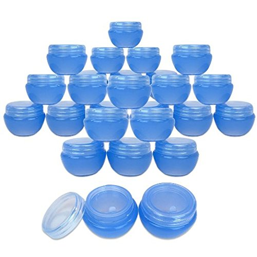 Beauticom 24 Pieces 10G/10ML Blue Frosted Container Jars with Inner Liner for Lotion, Toners, Lip Balms, Makeup Samples - BPA Free