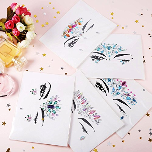 8 Packs Festival Face Jewels Rhinestones Gems Face Crystals Tattoo Jewelry for Forehead Body Decorations Party Supplies, Makeup Rhinestone Face Jewels Stickers, Women Mermaid Face Gems Glitter by Imagination Park (Image #5)