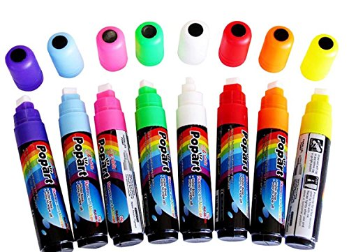 Liquid Chalk (Fluorescent Neon) Marker Pen 8 Color Pack Dry Erase