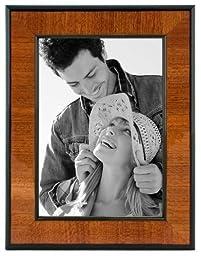 Malden International Designs Burl Wood Walnut Wooden Picture Frame with Black Border, 5x7, Walnut