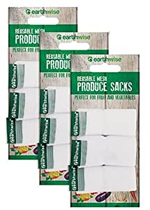 Earthwise Reusable Mesh Produce Bags - Washable Set of 9 Premium Bags, TRANSPARENT Lightweight, Strong SEE-THROUGH Mesh for shopping, transporting and storing fruits and veggies.