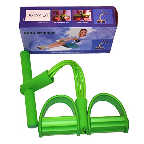 (AIMMEE-JL 4-Tube Elastic Sit Up Pull Rope with Foot Pedal Abdominal Exerciser Equipment Fitness Yoga (Green))
