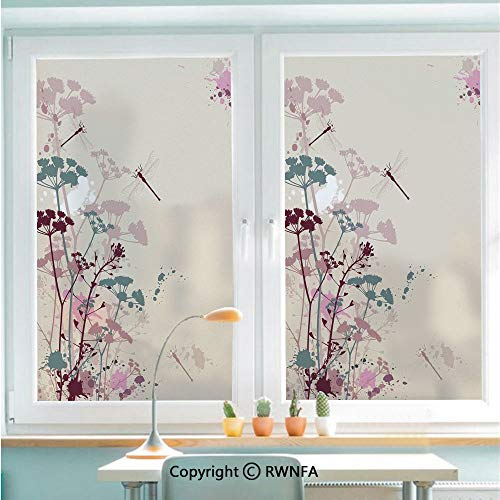 Dragonfly Petal - RWNFA Removable Static Decorative Privacy Window Films Plants and Petals with Dragonfly Soft Color Design with Grunge Effects Vintage Style for Glass (22.8In. by 35.4In),Multi