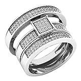 0.40 Carat (ctw) Sterling Silver Round Diamond Men's & Women's Micro Pave Engagement Ring Trio Set