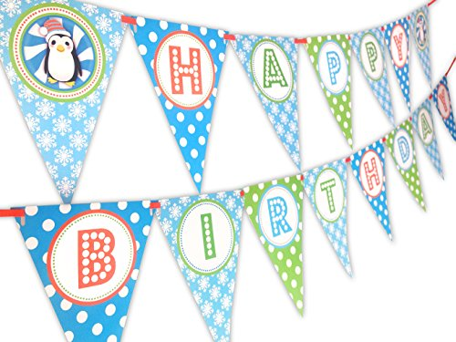 Penguin Party Orange Happy Birthday Banner Pennant