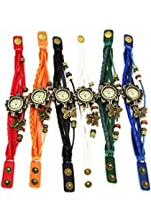 ThaiTime Strap Weaved Beads Wholesale 6pcs Womens Girls Butterfly Leather Strap Bracelet Wrist Watches