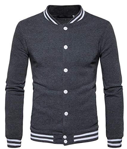 Small De Vêtements Vestes Grey Longues À Dark Hommes Pour Manches Taille couleur Baseball Kangqi 1pqRx
