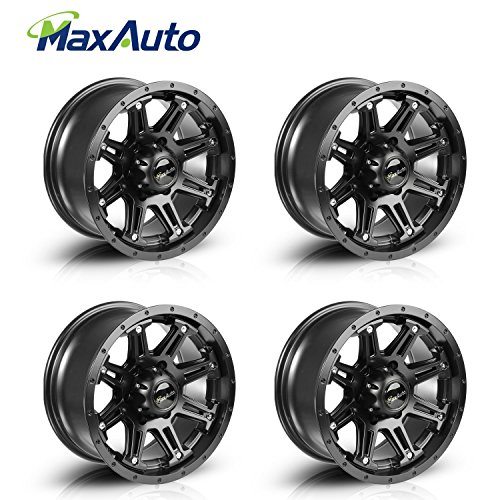 MaxAuto Wheels Rims 16×8 6×5.5 +10 mm Offset 6×139.7 Matte Black Fit For Toyota Tacoma FJ Cruiser, 2014-2016 Chevy Silverado 1500, Chevrolet Colorado Avalanche,GMC Sierra 1500 (4)