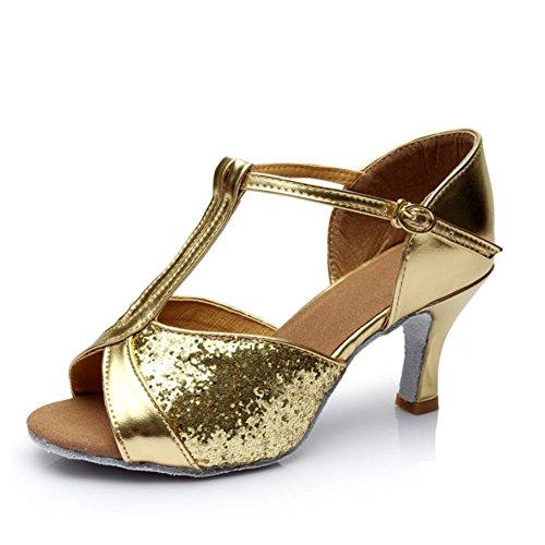 Tanzschuhe Party Gold Braun Damen Sandale Ballroom Latein amp; Fuchsia Schnalle Abend XUE Satin B C Farbe Schuhe Indoor Schuhe Ferse wgPv6Yq7