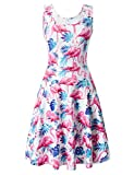 Uideazone Womens Scoop Neck Sleeveless Dresses Cute Flamingos Sundress for Wedding Party