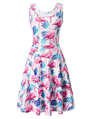 (Uideazone Women's Summer Beach A Line Dress Casual Flamingos Sleeveless Tank Dresses)