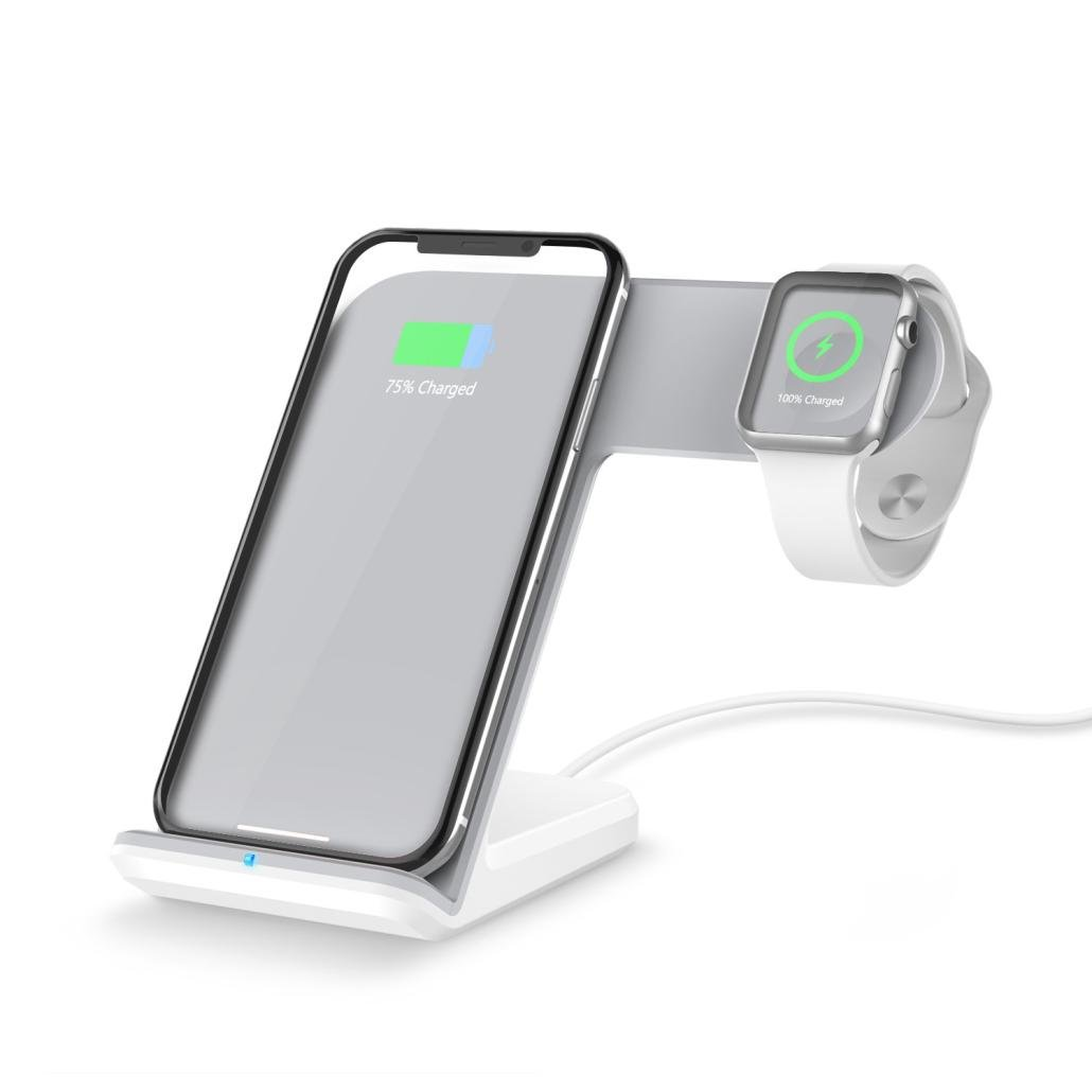 2 in 1 10W Qi Wireless Fast Charger Stand for Apple Watc iPhone8/8 Plus/X/Samsung Galaxy S8/S9/Note 8/Note 7/Note 5/S6 And Other Qi Compliant Device (White)