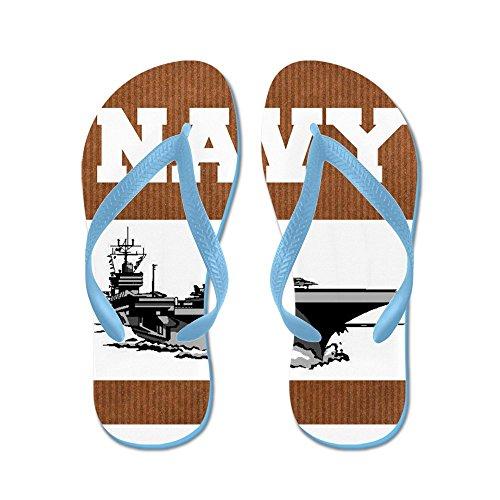 Cafepress Navy - Flip Flops, Roliga Rem Sandaler, Strand Sandaler Caribbean Blue