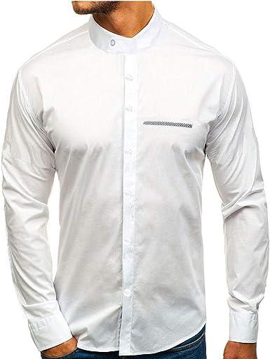 Camisa de Manga Larga para Hombre con Cuello Alto y Bolsillo en el Pecho Camisa de Ajuste Regular para Hombres Camisa con Botones Blusa Superior: Amazon.es: Ropa y accesorios