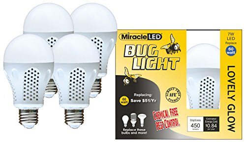 MiracleLED 604930 Miracle LED Lovely Glow Bug Light Bulb for Porch/Patio/Entry Way Outdoor and Save! 4-Pack, 4 Piece