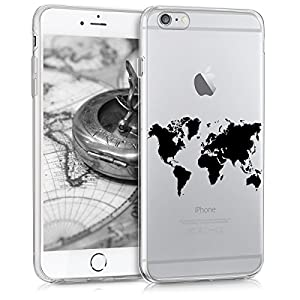 kwmobile Crystal TPU Silicone Case for Apple iPhone 6 Plus / 6S Plus in World Map black transparent