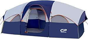 HIKERGARDEN CAMPROS Tent-8-Person-Camping-Tents, Waterproof Windproof Family Tent, 5 Large Mesh Windows, Double Layer, Divided Curtain for Separated Room, Portable with Carry Bag, for All Seasons
