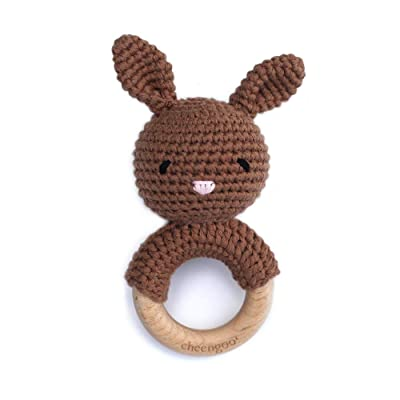 Cheengoo All Natural Baby Toy - Brown Bunny Rattle Teether: Toys & Games