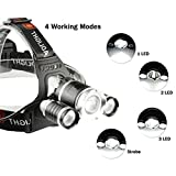 Ousili Headlamp Flashlight,6000 Lumens 3 Light 4 Modes Super Bright USB Rechargeable LED Headlight Best for Outdoor Camping Biking Hunting Fishing