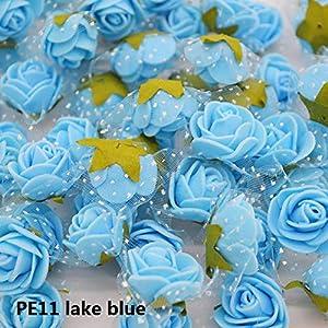 50Pcs/Lot 2Cm Diameter Mini PE Foam Rose Head Multicolor Artificial Silk Flowers Bouquet for Wedding Party Home Decoration Lake Blue 1