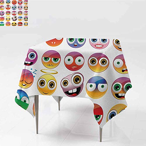 Acelik Anti-Fading Tablecloths,Emoji Rainbow Colored Cartoon Like Smiley Face Expressions Sad Happy Angry Fierce Art Print,for Square and Round Tables,54x54 Inch,Multicolor