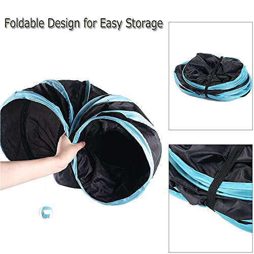 Aolan Cat Tunnel 3 Way Tunnels Extensible Collapsible Cat Play Tunnel Toy Maze Cat House with Pompon and Bells for Cat Puppy Kitten Rabbit with Cat Fish Catnip Toy by pawluv (Image #3)