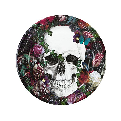 Talking Tables Halloween Décor | Day Of The Dead Baroque Paper Plates | Great For Halloween Party, Sugar Skull Party, Day Of The Dead Party | 8 -